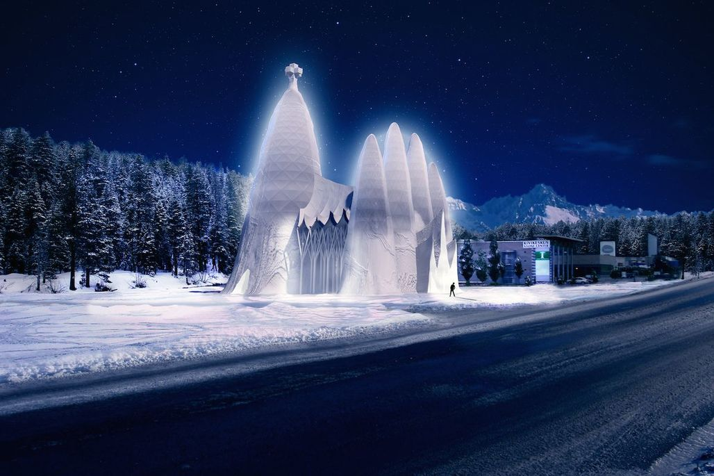 A rendering of the Sagrada Familia in Ice at night; via qz.com