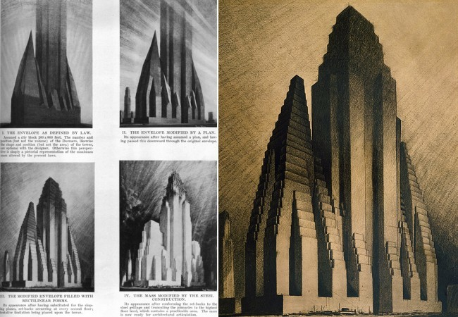 Hugh Ferris's charcoal drawings interpreting possible building variations legislated by New York City's zoning amendment of 1916. (via urbanomnibus.net)