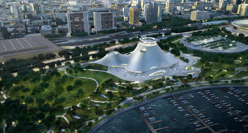 The proposed museum design for Chicago by MAD Architects. Image courtesy Lucas Museum of Narrative Art.