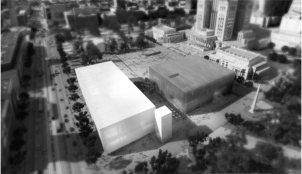 Inside the box: aerial rendering from Thomas Phifer and Partners