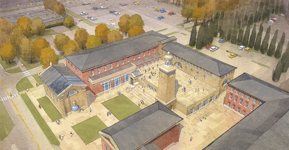 Birds-eye view of the John Simpson-designed Matthew and Joyce Walsh Family Hall of Architecture. Illustration: Chris Draper; image via architecture.nd.edu