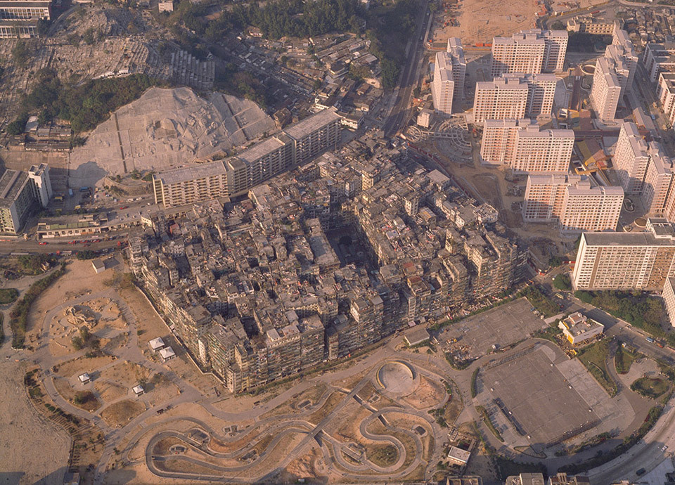 Aerial photo of Hong Kongs (now demolished) Kowloon Walled City. Photo: Greg Girard & Ian Lambot; Image via Kickstarter