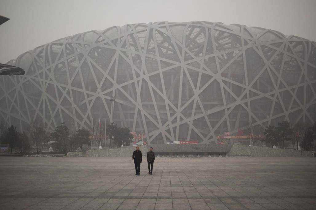 Birds Nest Olympic Stadium in Beijing on December 1, 2015. Image via darkroom.baltimoresun.com