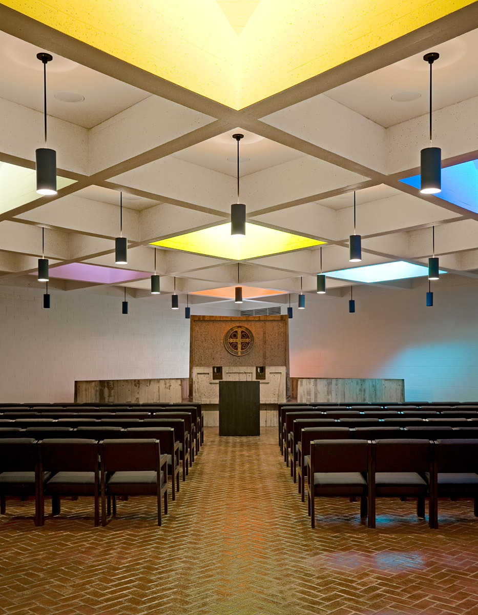 Blessed Sacrament Chapel and Abbey Church Pavilion--Modifications to Marcel Breuers 1961 St.Johns Abbey Church Project; Collegeville, MN (Photo: Paul Crosby Studio)