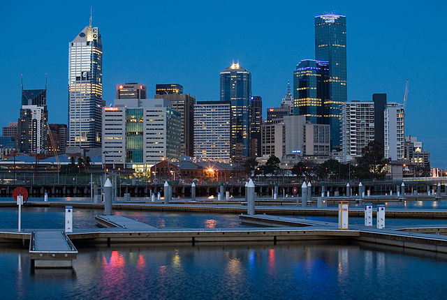 Melbourne skyline as viewed from Yarras Edge, Docklands, Melbourne after sunset. Photo by Diliff via Wikipedia.