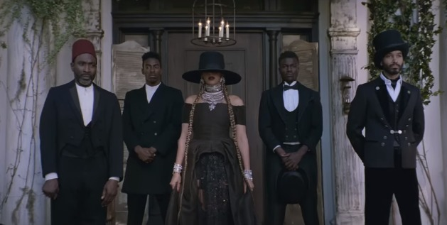 "Screenshot from Beyoncés ""Formation"" music video at the Fenyes Mansion in Pasadena, California."