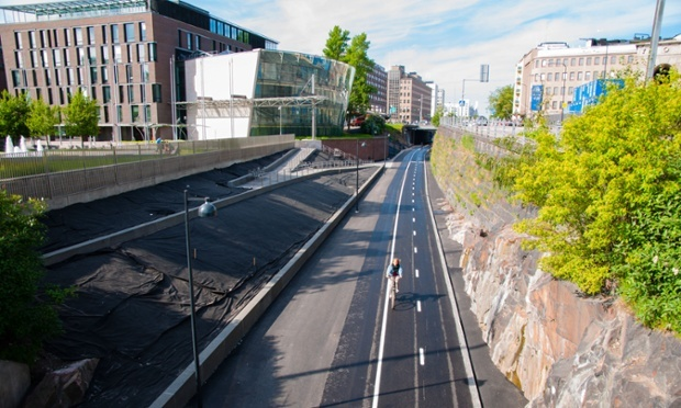 Helsinki's Baana bicycle corridor, which opened to the public in 2012. Photo: Alamy, via theguardian.com