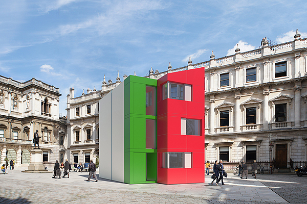 The flatpack Homeshell of Pritzker laureate Richard Rogers was built in a day at the Royal Academys courtyard. Photo courtesy of 7-T-Ltd via artinfo.com.