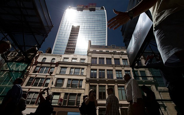 Intense sunlight reflects down towards street level from the Walkie Scorchie (The Telegraph; Photo: AP)