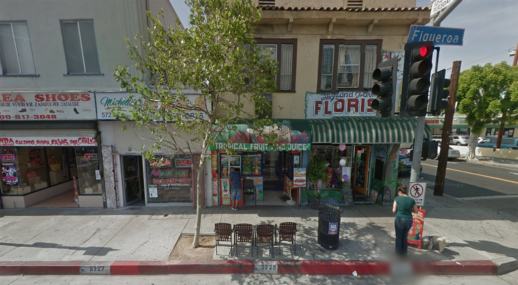 Typical street scene along Highland Parks bustling Figueroa Street.