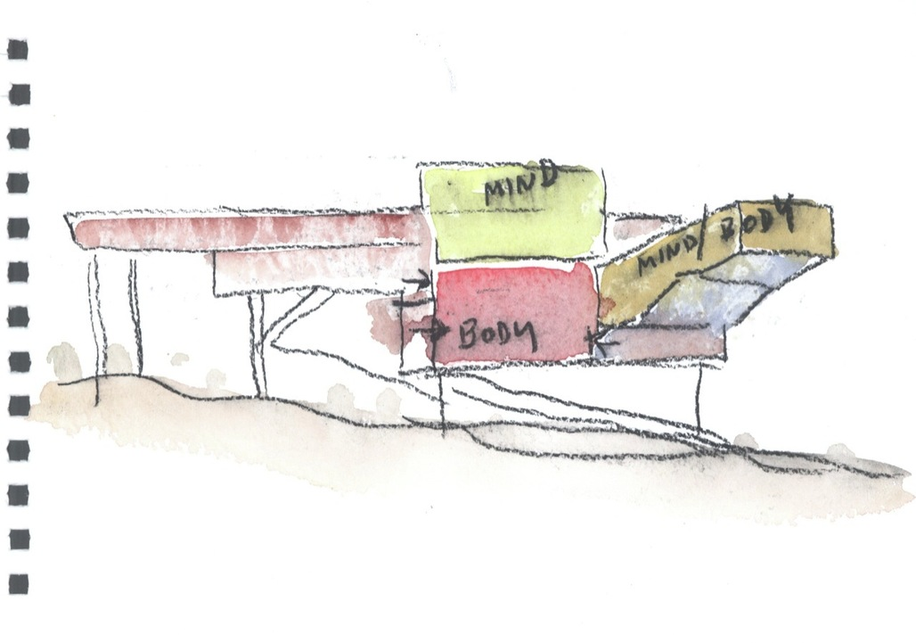 Steven Holls watercolor of the Campbell Sports Center at Columbia University. Image: Steven Holl Architects.