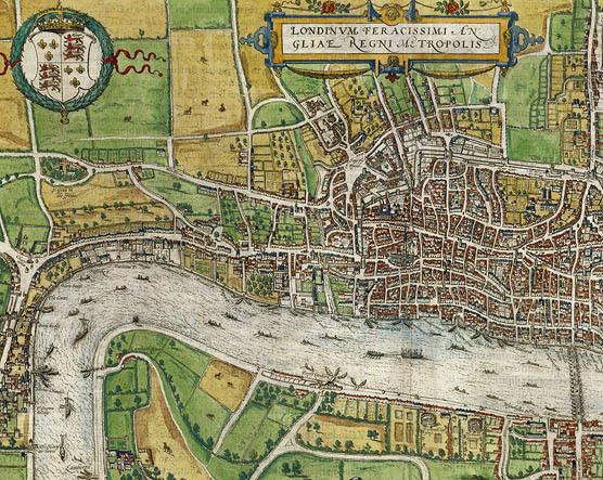 London, from Civitates Orbis Terrarum. Hand-colored engraving, 1574. Shelfmark MAP L85c no.27. Shelfmark MAP L85c no.27.