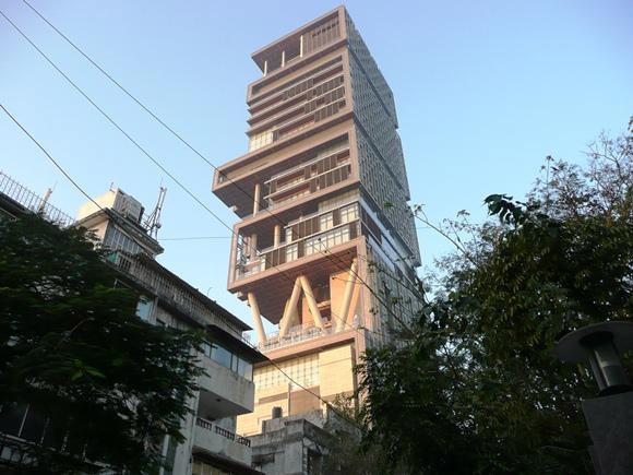 Skyscraper for one: billionaire Mukesh Ambanis 27-storey home Antilia towers over adjacent apartment buildings in Altamount Road, South Mumbai. Photo: Kerwin Datu