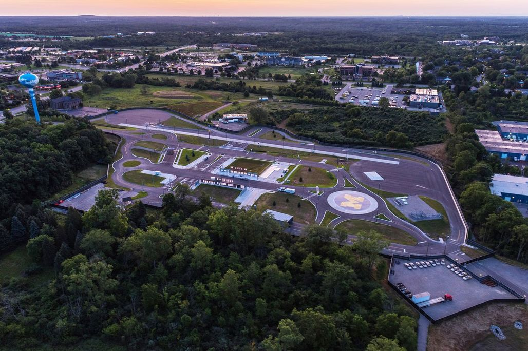 Aerial view of the University of Michigans autonomous vehicle testing facility, MCity, in Ann Arbor. (Image: University of Michigan; via curbed.com)