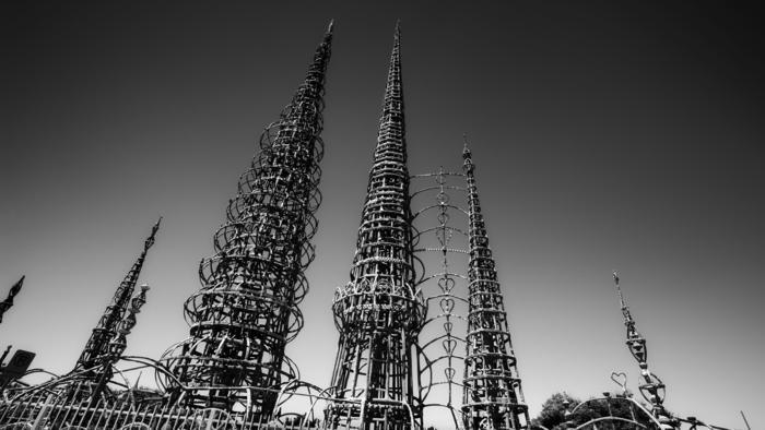 "The Watts Towers were one of three California sites named ""at-risk"" by the Cultural Landscape Foundation in Washington, D.C. Their care is now under the stewardship of the Los Angeles County Museum of Art. (Los Angeles Times; Photo: John C. Lewis / TCLF)"