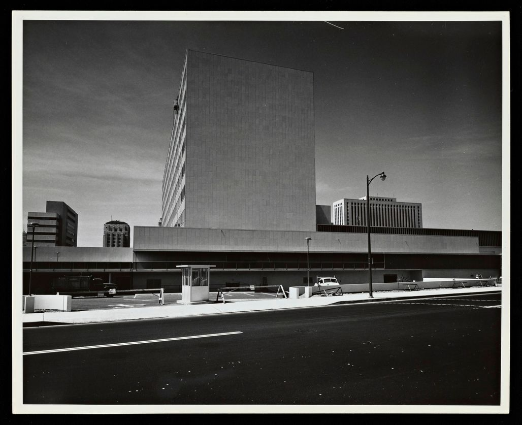 Parker Center. Photograph by Julius Shulman. © J. Paul Getty Trust. Getty Research Institute, Los Angeles.