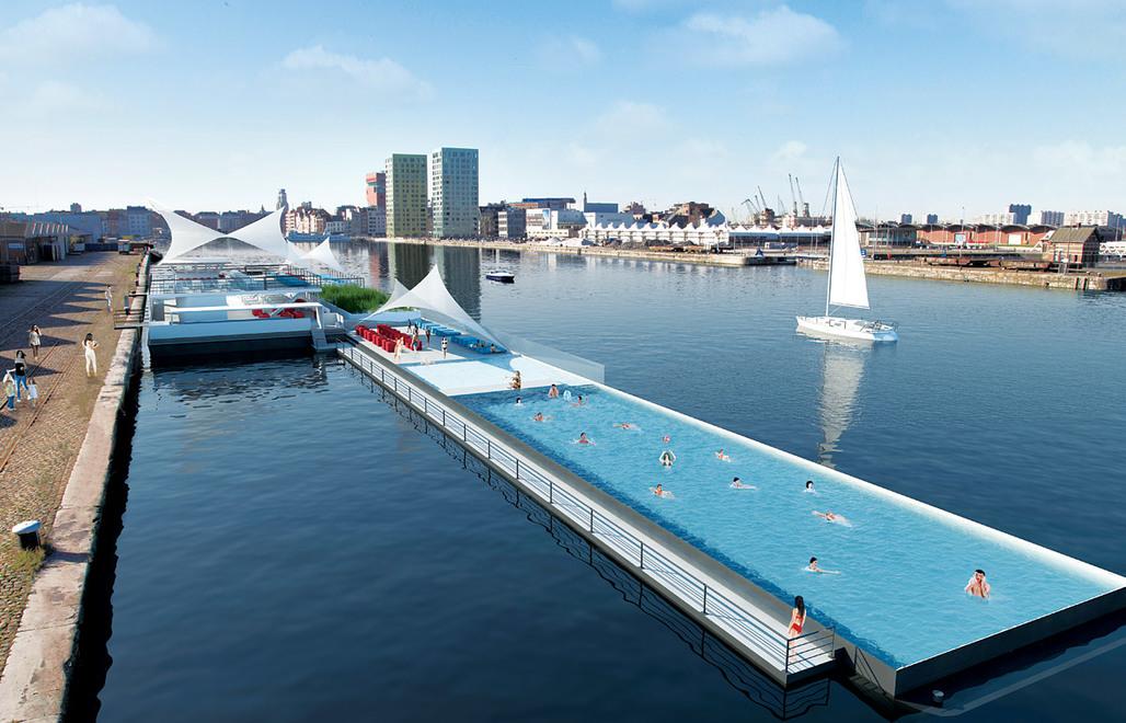 Rendering of Badboot docked on the Eilandje in Antwerp (Antwerp Docklands) at the Kattendijkdok