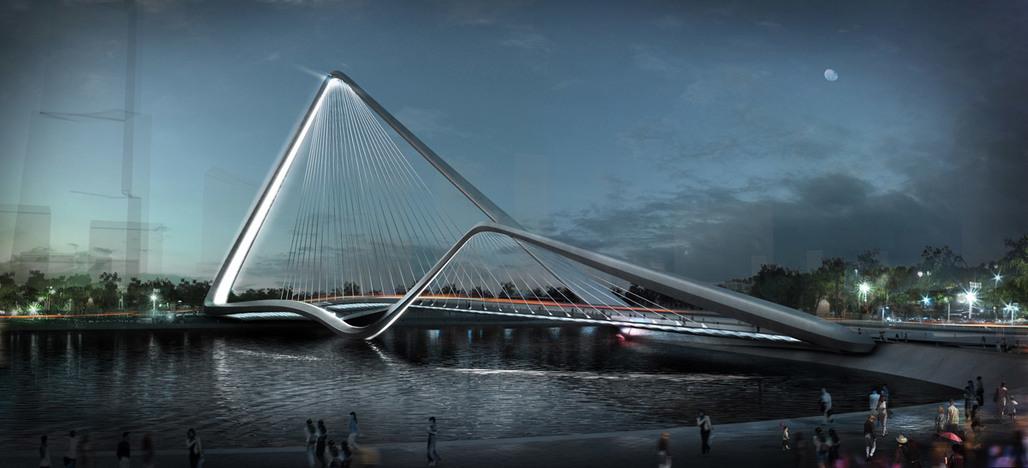 Winner of the Zhuhai Shizimen Bridge Competition: Infinity Loop Bridge by 10 DESIGN + Buro Happold (Image: 10 DESIGN)