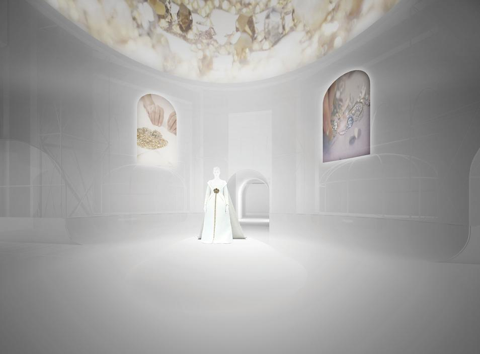 A rendering of Shigematsus designs for the Mets Costume Institute show includes ceiling projections. Image credit OMA via the Wall Street Journal.