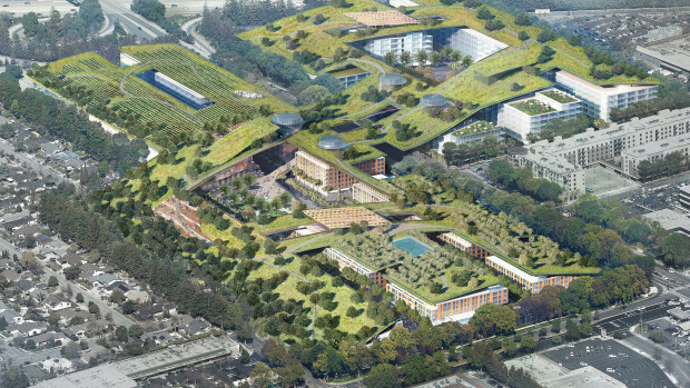 The project, slated to be the worlds largest green roof, would include a 3.8 mile trail network, organic gardens, and an amphitheater, among other features. Credit: Sand Hills Property Co.