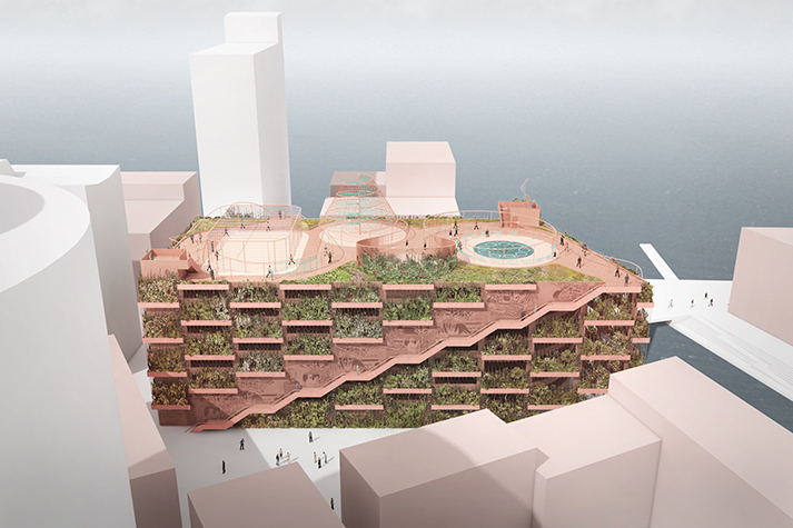 The new Park and Play garage will have grand external stairways leading to a rooftop park overlooking Copenhagen Harbour. Staggered planting boxes will screen parked cars from view. Image courtesy of JAJA Architects; via buildabetterburb.org
