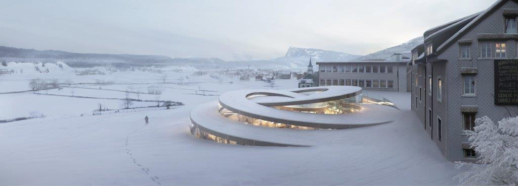 Maison des Fondateurs by BIG, in collaboration with HG Merz, Luchinger & Meyer, and Muller Illien. Image courtesy of BIG