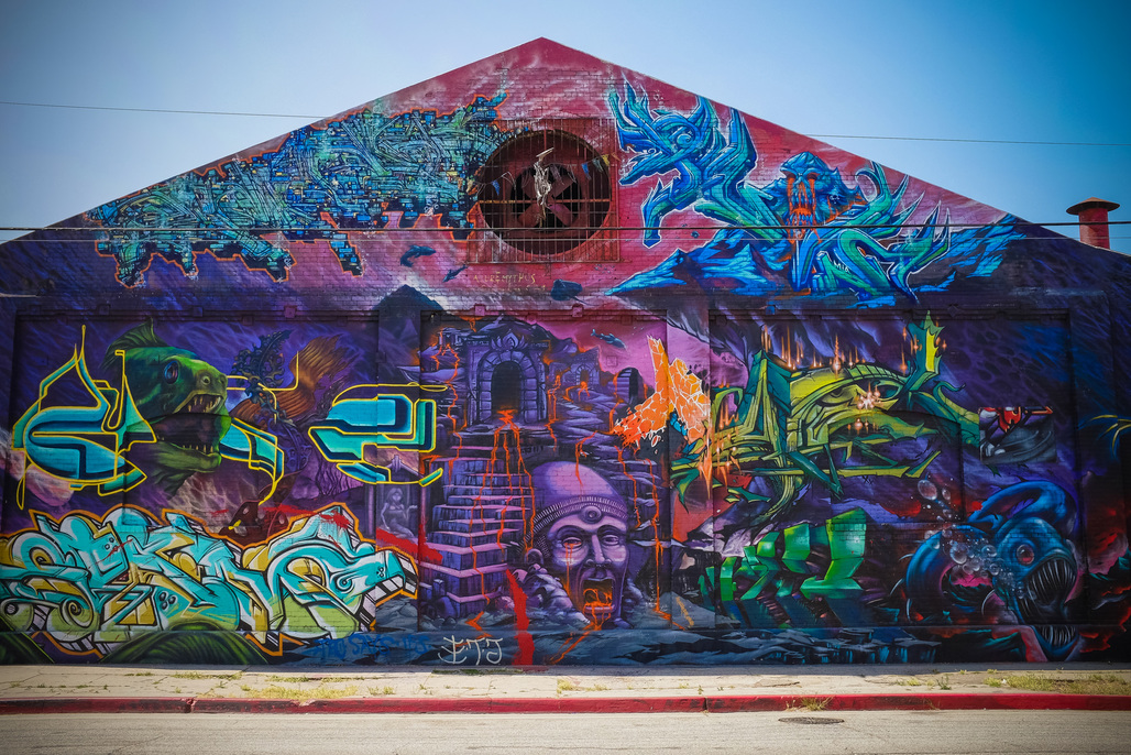 """One of the many murals in Downtown L.A.s Arts District. Photo: Sean Davis/<a href=""""https://www.flickr.com/photos/seandavis/9622709440""""target=""""_blank"""">Flickr</a>."""