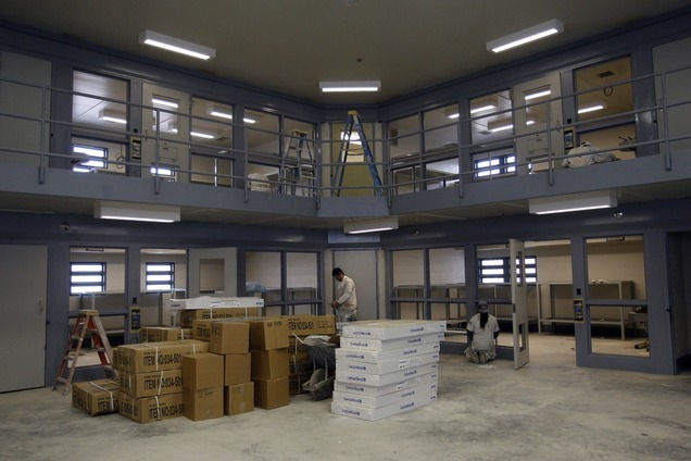 This photograph from Dec. 12, 2007, shows dormitory style cell block that will hold eight inmates per cell under construction at the Utah County Jail in Spanish Fork. Utah County claims the architect on the project made critical errors. Photo by Chris Detrick/The Salt Lake Tribune