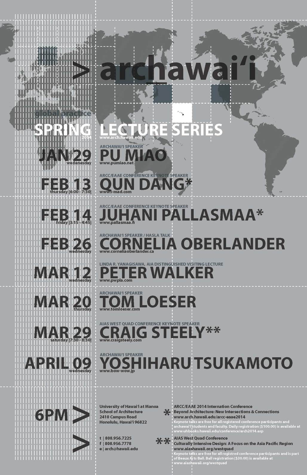 Spring 14 Lecture Series at the University of Hawaii at Manoa, School of Architecture. Image via arch.hawaii.edu