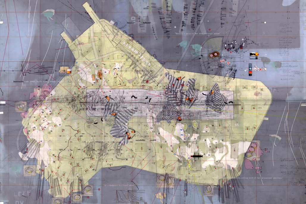 "David's Island Strategic Plot Drawing made: 1996-97 Drawing size: 24"" x 36"" Materials: Mylar, graphite, ink, tape, found imagery, x-rays, foil, photographs, transfer letters + trasnfer film, cut paper. © Perry Kulper"