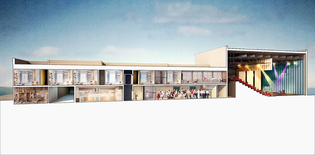 An architectural rendering of the new American Dance Institute building under construction in Catskill, N.Y. Credit via ADI
