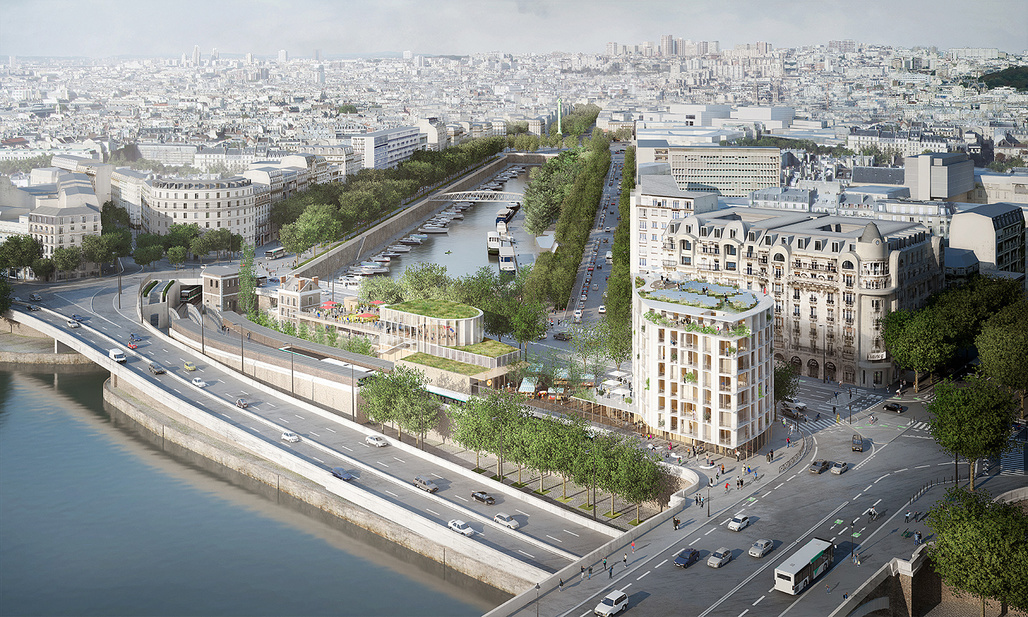 Aerial view from the Pont d'Austerlitz. In the foreground, the housing building and temporary pavilion. © SO – IL and laisné roussel (Weiss images)