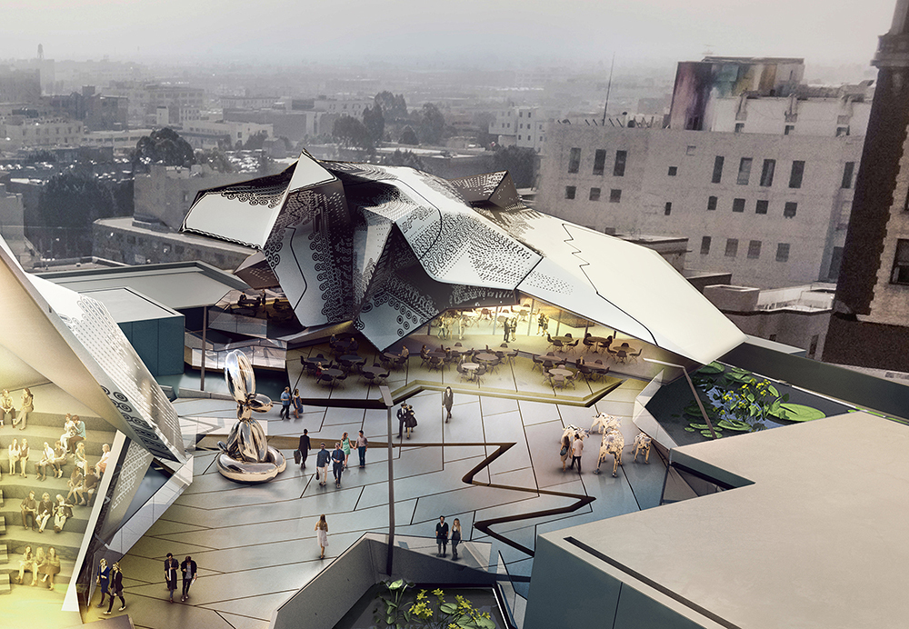 The Main Museum of Los Angeles Art (unbuilt) by Tom Wiscombe Architecture. Rendering by Kilograph.