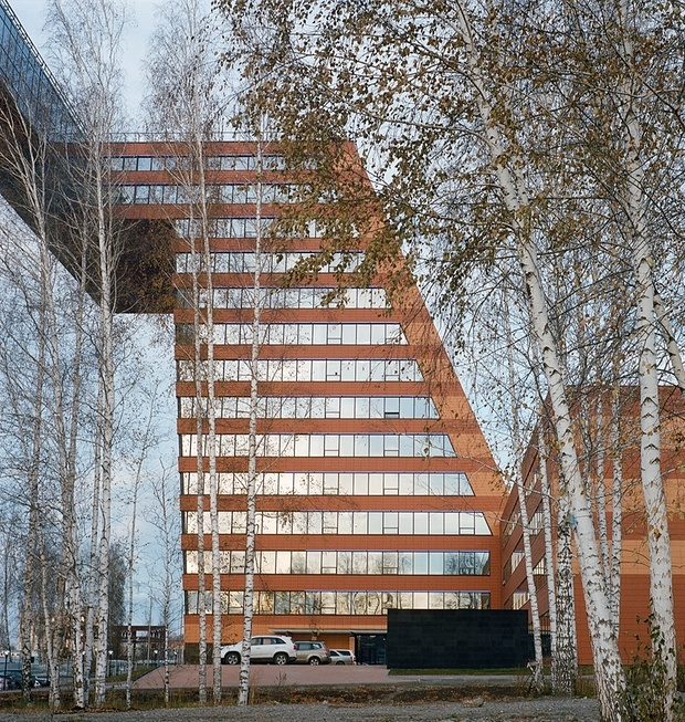 One of two tilting towers that houses Academpark, a Russian response to Silicon Valley. Credit: Maxim Sher / the Guardian