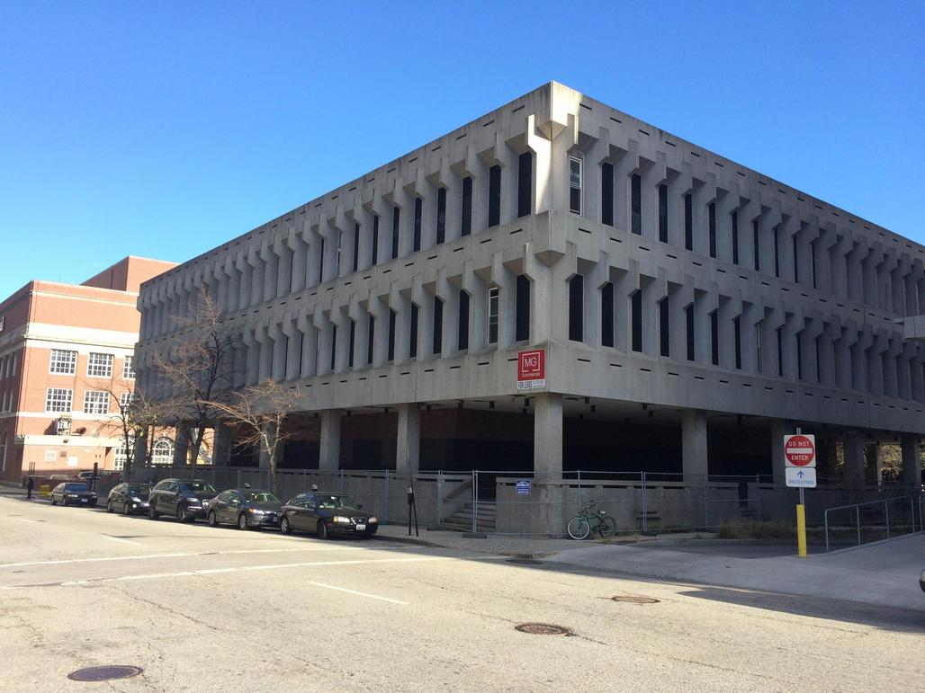 No love for middle-aged béton brut: the iconic Fogarty building in Providence, RI has been scheduled to meet the wrecking ball this year. (Photo: James Baumgartner / RIPR)