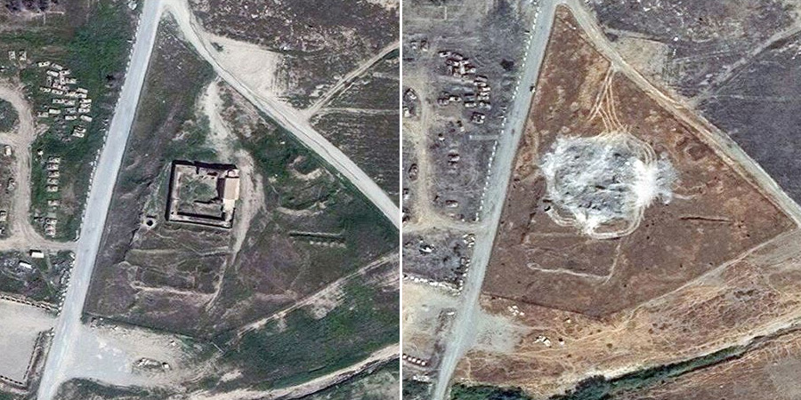 Satellite images from March 2011, left, and September 2014, show the complete destruction of the 1,400-year-old Christian monastery Dair Mar Elia (also know as Saint Elijahs Monastery) near Mosul, Iraq. (Photo: DigitalGlobe/AP)