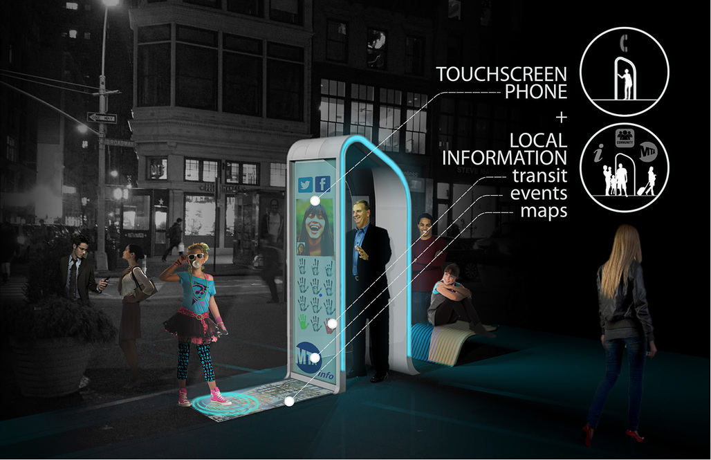 """Winner of the Creativity Award at the Reinvent Payphones Design Challenge: FXFOWLEs concept """"NYC Loop"""" (Image: FXFOWLE)"""