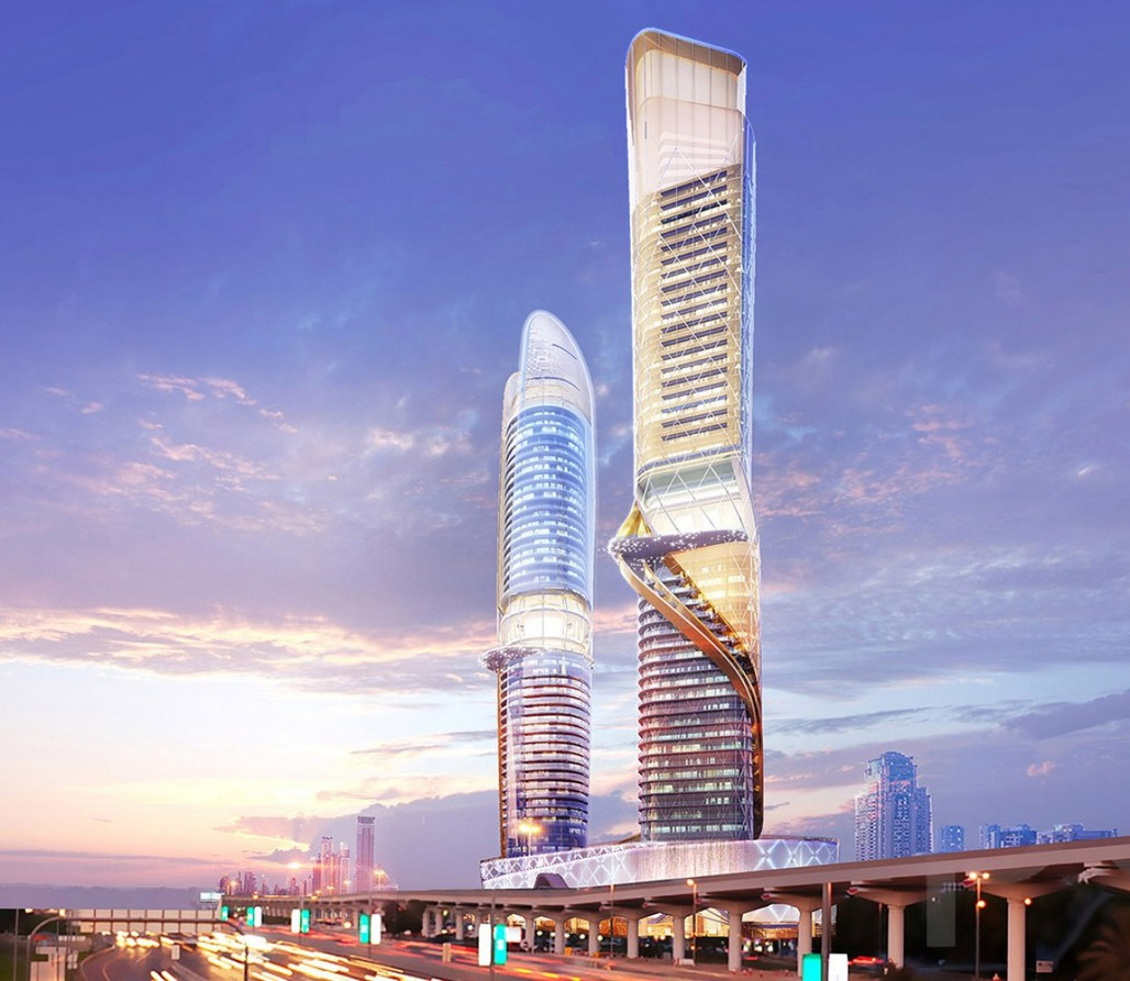 Rendering of the proposed rainforest/beach towers on Dubais Sheikh Zayed Road. (Image via zasa.com)