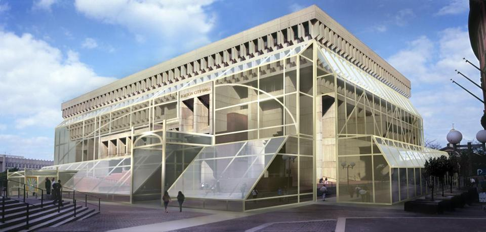Professor emeritus at Suffolk University, Harry Bartnick, proposes a sheath of glass for Bostons much contested béton brut city hall building. (Design: Harry Bartnick; Image via bostonglobe.com)