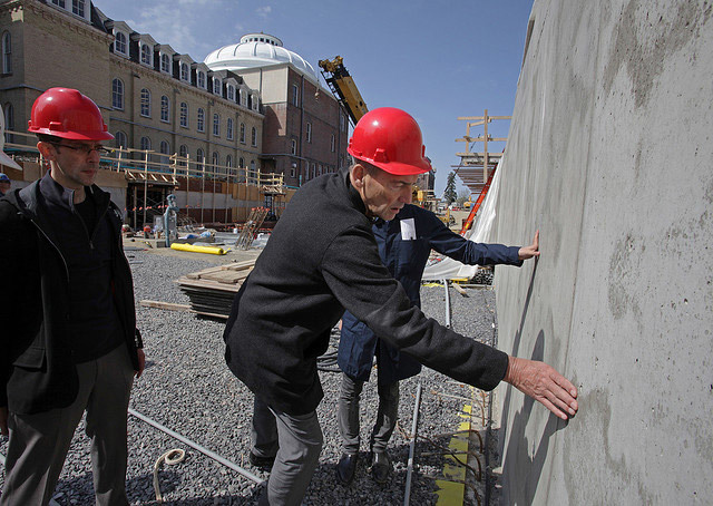 Kolhaas visits the Milstein Hall construction site on April 13, 2010
