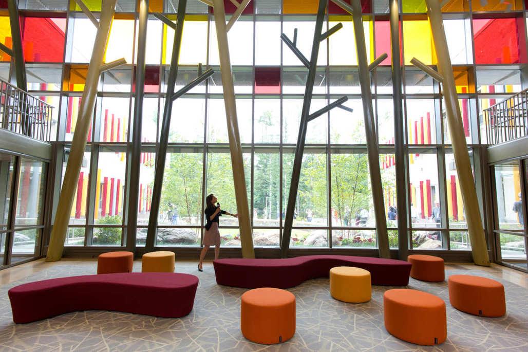 Lobby of the new Sandy Hook Elementary School. Photo: Mark Lennihan/AP
