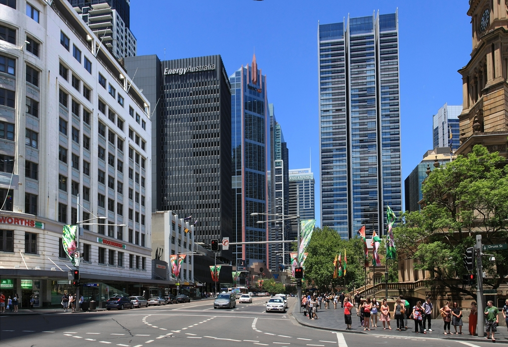 "The proposed site of new light rail in Sydney (photo ""George street in Sydney Australia"" by Adam.J.W.C.)."