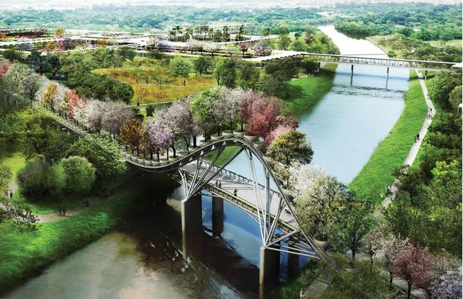 Dont call it Houstons version of the Garden Bridge yet: some elements of the West 8 Houston Botanic Garden master plan, like this tree-topped bridge, may still be altered or dropped entirely to ease hurricane safety concerns. (Rendering: West 8)