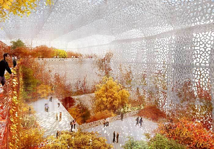Sunlight will be filtered through the building's perforated façade on to a vast internal garden that changes with the seasons. (The Art Newspaper, Photo: Ateliers Jean Nouvel & BIAD)
