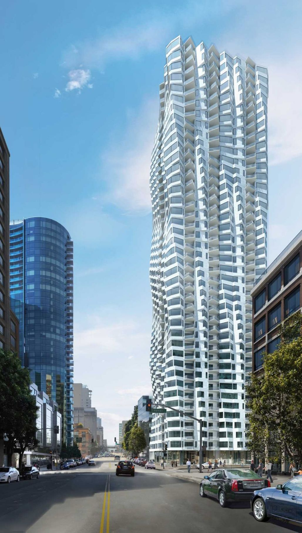 Rendering of Jeanne Gangs proposed residential tower at 160 Folsom St., image via sfchronicle.com.