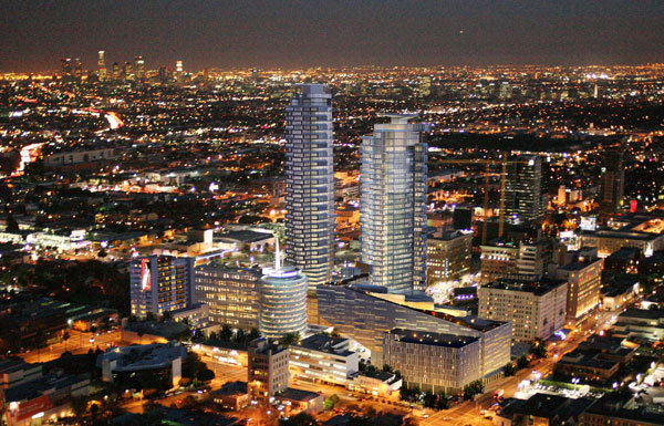 An artists rendering of the project near the Capitol Records building in Hollywood. (Handel Architects)