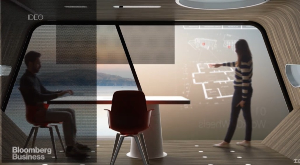 IDEO's rendering of a future of mobile, self-driving offices. Credit: IDEO via Bloomberg