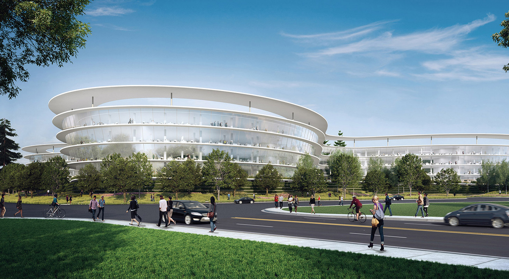 The new building certainly bears a resemblance to the Norman Foster-designed Apple 2 campus, but the aerial view reveals a more cloverleaf-like shape. (Image via notanotherbox.com, design by HOK.)