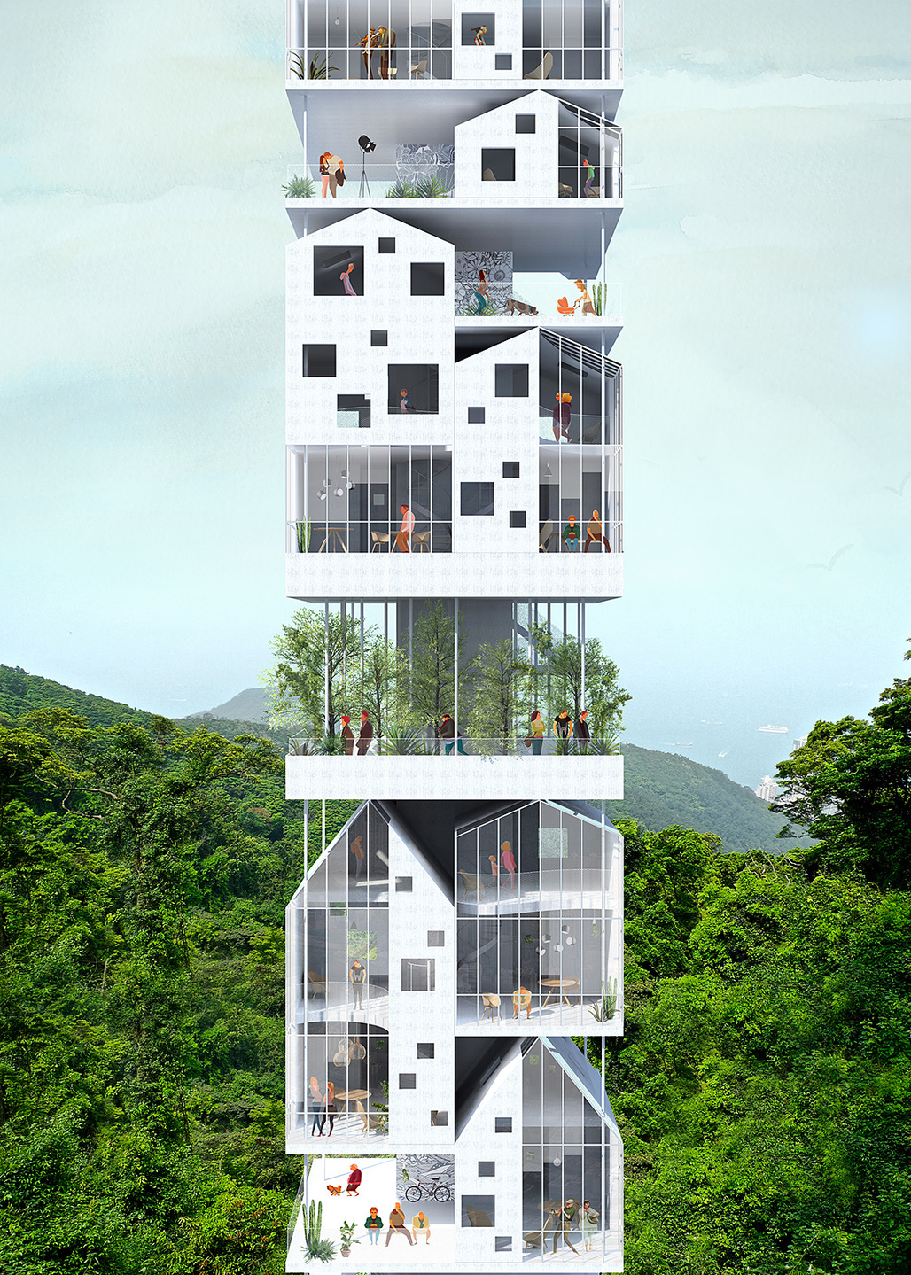 2nd prize: Vertical Village. Project authors: François Chantier, Maria Fernandez | France​
