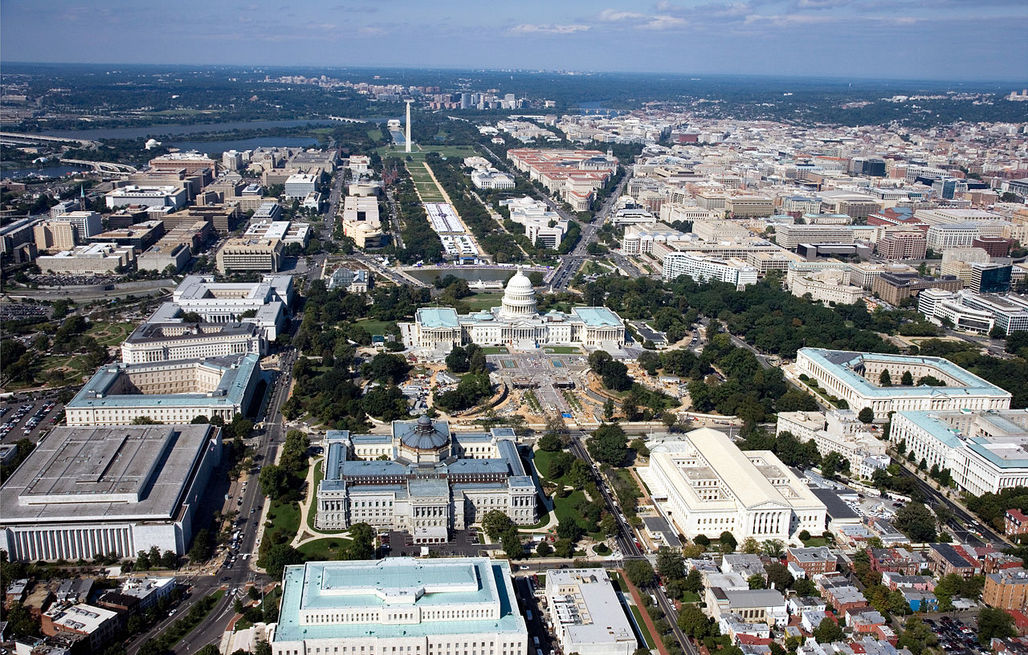 Aerial photo of Washington, D.C. where commuters spent a record number of 82 hours in traffic delays in 2014, according to the latest study by Texas A&Ms Transportation Institute.